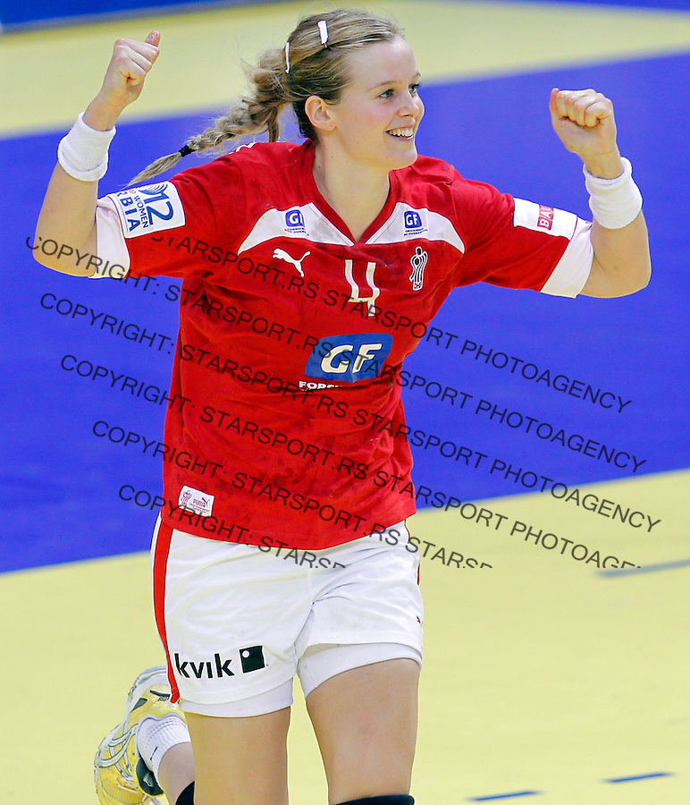 NIS, SERBIA 4/12/2012/ Susan Thorsgaard of Denmark celebrate during Women`s European Handball Championship match between France and FYR Macedonia (FYROM) in Cair arena in city of Nis in southern Serbia on  December 4, 2012 Credit: PEDJA MILOSAVLJEVIC/SIPA/