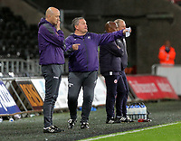 Pictured: (L-R) Swansea coaches John Toshack and Gary Richards Monday 15 May 2017<br /> Re: Premier League Cup Final, Swansea City FC U23 v Reading U23 at the Liberty Stadium, Wales, UK