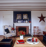 The living room includes a large star sculpture displayed on the wall next to a blue brick fire place.