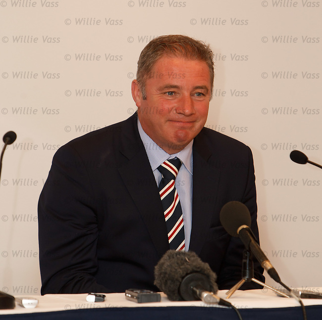 Ally McCoist facing the media in Malmo this afternoon