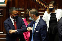 Italian Minister of Foreign Affairs Luigi di Maio gives the elbow to greet deputies during the Premier speech about the European Council at the Chamber of Deputies. Rome (Italy), July 22nd 2020<br /> Foto Samantha Zucchi Insidefoto