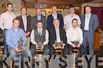 SPECIAL: Mike Lucid,Ronan Kerins John Lucid and Jason Casey seated front who were presented with special awards at the Ballyheigue Hurling GAA Social in The white Sands Hotel, Ballyheigue on Friday night, Back l-r: Jerry Crean, Niall Lucid, Tom OConnor, John Brassil, John Casey (chairman) and Brendan OSullivan (manager)...