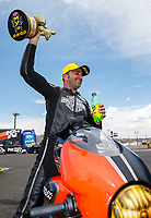 Jul 23, 2017; Morrison, CO, USA; NHRA pro stock motorcycle rider Eddie Krawiec celebrates after winning the Mile High Nationals at Bandimere Speedway. Mandatory Credit: Mark J. Rebilas-USA TODAY Sports