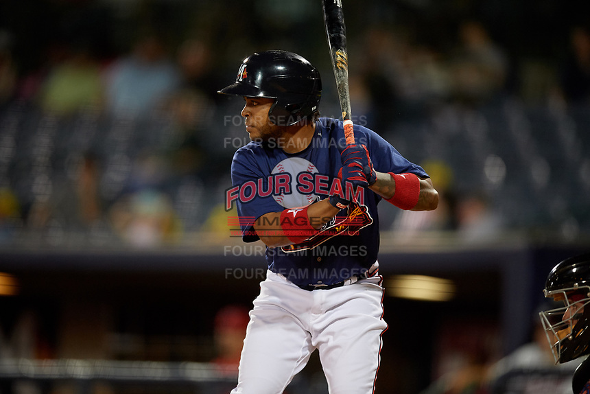 Mississippi Braves Luis Valenzuela (1) at bat during a Southern League game against the Jacksonville Jumbo Shrimp on May 4, 2019 at Trustmark Park in Pearl, Mississippi.  Mississippi defeated Jacksonville 2-0.  (Mike Janes/Four Seam Images)