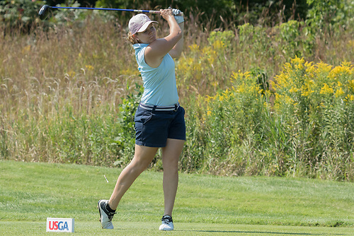 Paige McCullough watches her drive on the sixteenth hole during the US Womenu0027s Mid-Amateur Sectional Qualifying at the Chaska Town Course on August 30 ... : usga sectional qualifying - Sectionals, Sofas & Couches