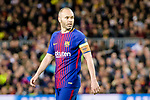 Andres Iniesta Lujan of FC Barcelona reacts during the UEFA Champions League 2017-18 quarter-finals (1st leg) match between FC Barcelona and AS Roma at Camp Nou on 05 April 2018 in Barcelona, Spain. Photo by Vicens Gimenez / Power Sport Images