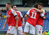Fleetwood Town's Ched Evans celebrates with Bobby Grant after scoring the opening goal<br /> <br /> Photographer David Shipman/CameraSport<br /> <br /> The EFL Sky Bet League One - Oxford United v Fleetwood Town - Saturday August 11th 2018 - Kassam Stadium - Oxford<br /> <br /> World Copyright &copy; 2018 CameraSport. All rights reserved. 43 Linden Ave. Countesthorpe. Leicester. England. LE8 5PG - Tel: +44 (0) 116 277 4147 - admin@camerasport.com - www.camerasport.com