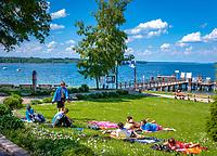 Deutschland, Oberbayern, Starnberger See, Seeshaupt: Liegewiese bei der Schiffsanlegestelle, Jugendliche geniessen die ersten warmen Sonnenstrahlen fuer ein Sonnenbad | Germany, Upper Bavaria, Lake Starnberg, Seeshaupt: juveniles enjoying a sunbath near landing stage