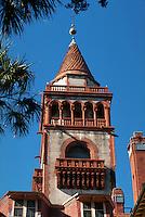 Tower, Flagler College in historic Ponce De Leon Hotel (1885), St. Augustine. Saint Augustine, Florida.