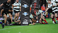 Ngani Laumape of New Zealand forces his way through to score a try during the 125th Anniversary Match between Barbarians and New Zealand at Twickenham Stadium on Saturday 4th November 2017 (Photo by Rob Munro/Stewart Communications)