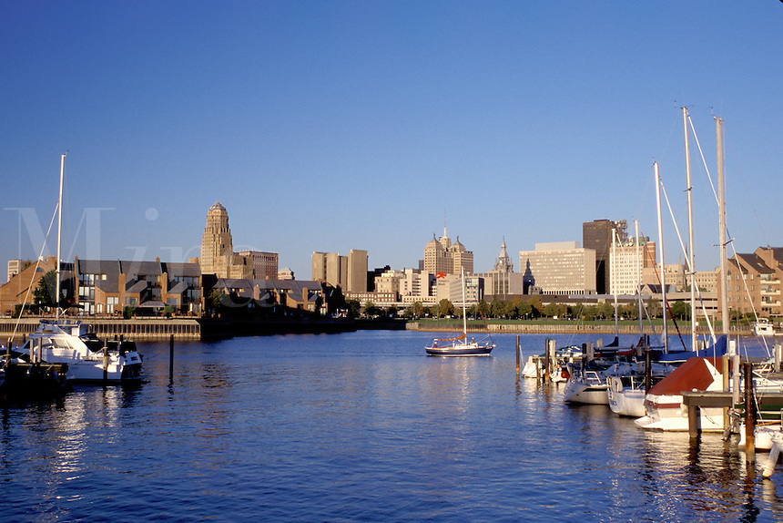 Buffalo, downtown, skyline, New York, NY, Downtown skyline of Buffalo from Erie Basin Marina on Lake Erie.