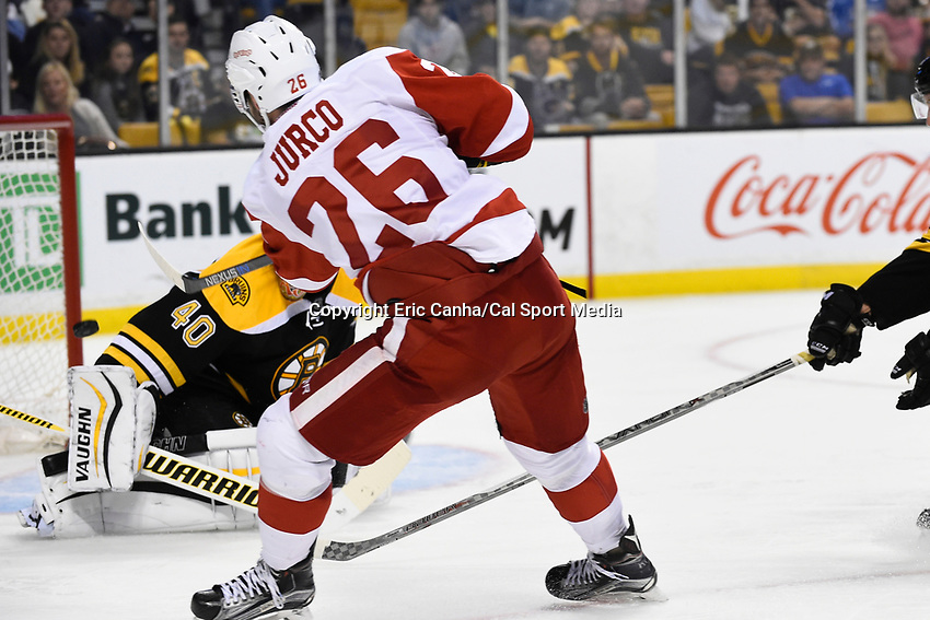 Monday, September 28, 2015, Boston, MA -  Detroit Red Wings right wing Tomas Jurco (26) watches as his shot gets past Boston Bruins goalie Tuukka Rask (40) during the NHL game between the Detroit Red Wings and the Boston Bruins held at TD Garden, in Boston, Massachusetts. Detroit defeats Boston 3-1 in regulation time. Eric Canha/CSM