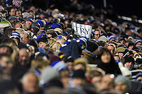 A supporter in the crowd holds up a 'Try' banner. European Rugby Champions Cup match, between Bath Rugby and Leinster Rugby on November 21, 2015 at the Recreation Ground in Bath, England. Photo by: Patrick Khachfe / Onside Images