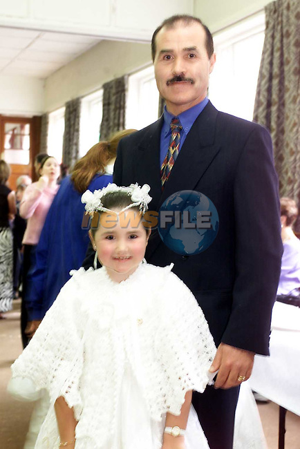 Sandra Farrell and her Dad Anthony from Rosevale after first communion in St Marys Church.Picture Fran Caffrey Newsfile