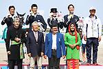 (L-R) <br /> Masanao Takahashi, <br /> € Kazuki Sado, <br />  Akane Kuroki, <br />  Shunsuke Terui, <br />  € Shinichi Terui (JPN), <br /> AUGUST 20, 2018 - Equestrian : <br /> Dressage Team Medal ceremony <br /> at Jakarta International Equestrian Park <br /> during the 2018 Jakarta Palembang Asian Games <br /> in Jakarta, Indonesia. <br /> (Photo by Naoki Nishimura/AFLO SPORT)