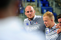 Matt Garvey of Bath Rugby speaks to his team-mates after the match. Pre-season friendly match, between Leinster Rugby and Bath Rugby on August 26, 2016 at Donnybrook Stadium in Dublin, Republic of Ireland. Photo by: Patrick Khachfe / Onside Images