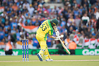 Adam Zampa (Australia) drives to extra cover and is caught by Jadeja to bring the game to a close during India vs Australia, ICC World Cup Cricket at The Oval on 9th June 2019