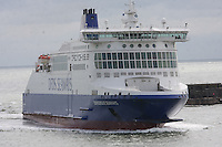 Dunkerque Seaways ship of the DFDS Seaways fleet entering the Port of Dover, Kent on 24.5.13.