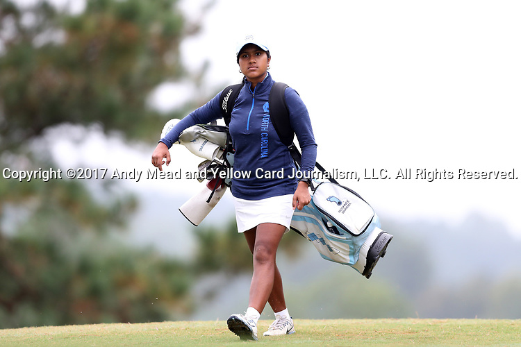 CHAPEL HILL, NC - OCTOBER 15: North Carolina's Roshnee Sharma walks to the 2nd tee. The third and final round of the Ruth's Chris Tar Heel Invitational Women's Golf Tournament was held on October 15, 2017, at the UNC Finley Golf Course in Chapel Hill, NC.