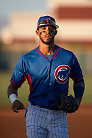 AZL Cubs 2 center fielder Jose Gonzalez (20) jogs off the field between innings of an Arizona League game against the AZL Reds at Sloan Park on June 18, 2018 in Mesa, Arizona. AZL Cubs 2 defeated the AZL Reds 4-3. (Zachary Lucy/Four Seam Images)
