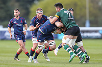 Dave Sisi of London Scottish looks for a way past Jordan Coghlan  of Nottingham Rugby during the Greene King IPA Championship match between London Scottish Football Club and Nottingham Rugby at Richmond Athletic Ground, Richmond, United Kingdom on 15 April 2017. Photo by David Horn.