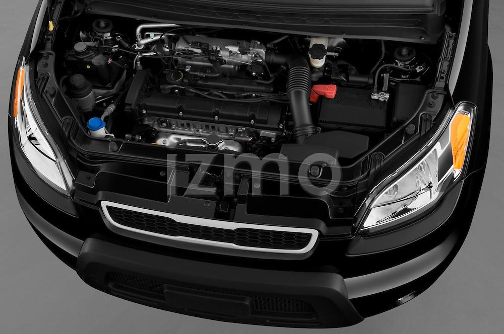High angle engine detail of a 2010 Kia Soul! .