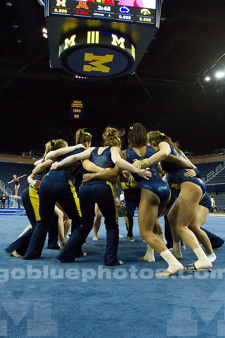The University of Michigan women's gymnastics team placed 3rd of 4 teams with a score of 196.025 at Crisler Center in Ann Arbor, Mich., on March. 15, 2014.