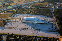 Aerial view from a helicopter of the Cedar Park Center is the premier multi-use entertainment facility of Central Texas hosting more than 130 events per year including sporting events, concerts, and family shows.