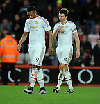 A dejected Anthony Martial of Manchester United and Michael Carrick of Manchester United at the end of the game<br /> - Barclays Premier League - Bournemouth vs Manchester United - Vitality Stadium - Bournemouth - England - 12th December 2015 - Pic Robin Parker/Sportimage