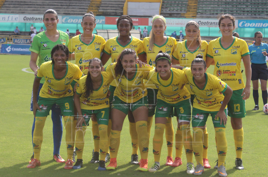 NEIVA  -COLOMBIA, 8-04-2017. Team of Huila.Action game between Atletico Huila and Independiente  Santa Fe .  during match for the date  of the Women´s  Aguila League I 2017 played at Guillermo Plazas Alcid stadium . Photo:VizzorImage / Sergio Reyes   / Contribuidor