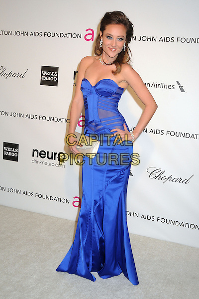 Lauren C. Mayhew.21st Annual Elton John Academy Awards Viewing Party held at West Hollywood Park, West Hollywood, California, USA..February 24th, 2013.oscars full length blue dress strapless hand on hip corset silk satin clutch bag white.CAP/ADM/BP.©Byron Purvis/AdMedia/Capital Pictures.