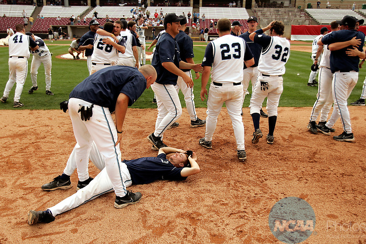 29 MAY 2007: Kean baseball players celebrate including pitcher Daniel Zeffiro (laying on ground), who pitched twelve innings of four hit baseball Friday to defeat Cortland in the NCAA Division III Men's National Baseball Championship series held at Fox Cities Stadium in Grand Chute, WI.  Allen Fredrickson/NCAA Photos