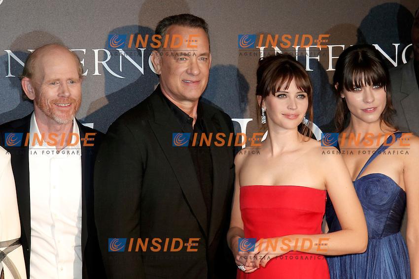 Rona Howard, Tom Hanks, Felicity Jones and Ana Ularu<br /> Firenze 08-10-2016. 'Inferno' Anteprima Mondiale.<br /> Florence 8th October 2016. 'Inferno' World Premiere.<br /> Foto Samantha Zucchi Insidefoto