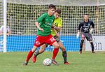2018-08-12 / Voetbal / seizoen 2018 -2019 / KFC Houtvenne - RC Villers la Ville/ Stef Vervoort (l.KFC Houtvenne) met Robin Servais ,Foto: Mpics.be