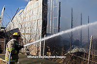 63818-02312 Firefighters extinguishing warehouse fire, Salem, IL