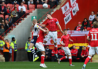 Jason Pearce of Charlton Athletic and Jayden Stockley of Preston North End ho up for a header during Charlton Athletic vs Preston North End, Sky Bet EFL Championship Football at The Valley on 3rd November 2019