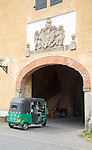 Motorised rickshaw at fort doorway exit in the historic town of Galle, Sri Lanka, Asia