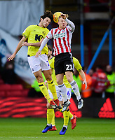 Blackburn Rovers' Lewis Travis vies for possession with Sheffield United's Mark Duffy<br /> <br /> Photographer Chris Vaughan/CameraSport<br /> <br /> The EFL Sky Bet Championship - Sheffield United v Blackburn Rovers - Saturday 29th December 2018 - Bramall Lane - Sheffield<br /> <br /> World Copyright © 2018 CameraSport. All rights reserved. 43 Linden Ave. Countesthorpe. Leicester. England. LE8 5PG - Tel: +44 (0) 116 277 4147 - admin@camerasport.com - www.camerasport.com