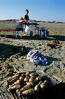 Chicken drums barbecuing at the beach, Camargue, France.