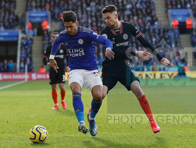Ayoze Perez of Leicester City holds off Jorginho of Chelsea during the Premier League match at the King Power Stadium, Leicester. Picture date: 1st February 2020. Picture credit should read: Darren Staples/Sportimage