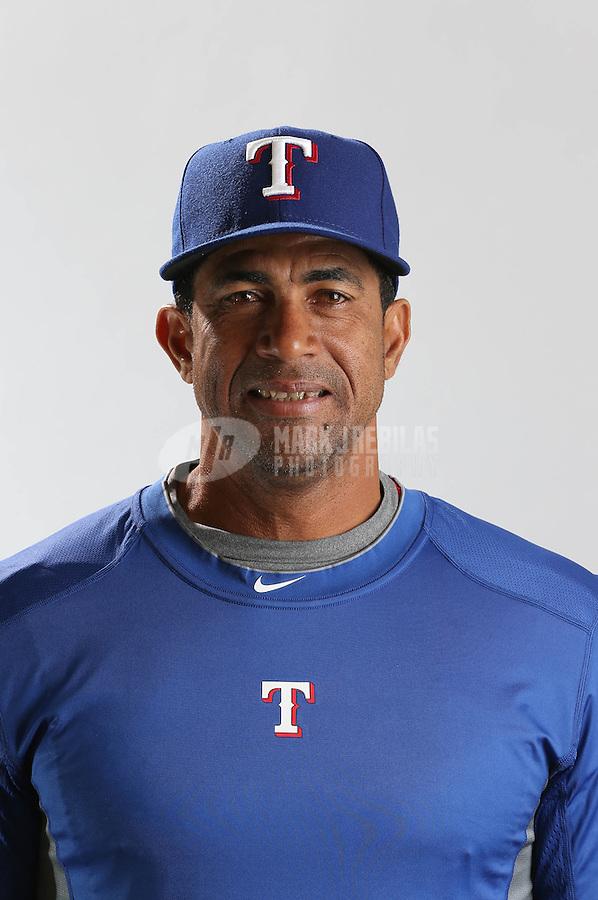 Feb. 20, 2013; Surprise, AZ, USA: Texas Rangers coach Cesar Hernandez poses for a portrait during photo day at Surprise Stadium. Mandatory Credit: Mark J. Rebilas-