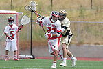 Palos Verdes, CA 05/07/11 - Cole Bender (Palos Verdes #27) and unidentified Oak Park player in action during the CIF Southern Section North Division Semifinal game between Oak Park and Palos Verdes.