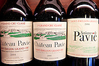 Fine wine Chateau Pavie 1er Grand Cru Classe 2006 and 2004 vintage and Aromes de Pavie in Vignobles et Chateaux shop in St Emilion, Bordeaux, France