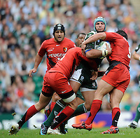 Twickenham, GREAT BRITAIN, Exiles' Jaun LEGUIZAMON, wraooed up by the Tpoulouse player as tries to attack, during the Heineken, Semi Final, Cup Rugby Match,  London Irish vs Toulouse, at the Twickenham Stadium on Sat 26.04.2008 [Photo, Peter Spurrier/Intersport-images]