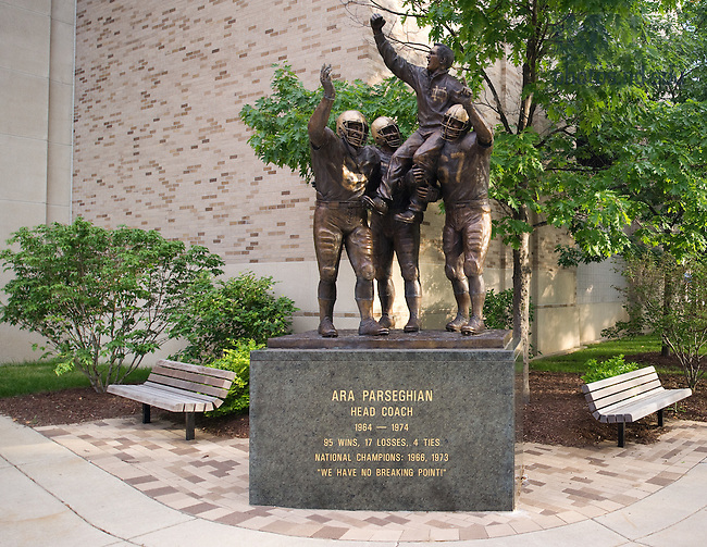 Jun. 13, 2011; Ara Parseghian statue outside Notre Dame Stadium..Photo by Matt Cashore/University of Notre Dame