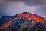 Close up of Chugach Mountains summit at sunset, viewed frrom Glen Hwy, Southcentral Alaska, Autumn.