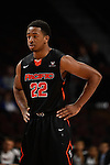 March 6, 2015; Las Vegas, NV, USA; Pacific Tigers guard Ray Bowles (22) looks on against the San Francisco Dons during the first half of the WCC Basketball Championships at Orleans Arena.