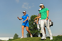 Brittany Lang (USA) and In Gee Chun (KOR) share a laugh as they depart the 16th tee during Thursday's first round of the 72nd U.S. Women's Open Championship, at Trump National Golf Club, Bedminster, New Jersey. 7/13/2017.<br /> Picture: Golffile | Ken Murray<br /> <br /> <br /> All photo usage must carry mandatory copyright credit (&copy; Golffile | Ken Murray)