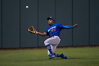 Ogden Raptors left fielder Daniel Robinson (50) makes a sliding catch during a Pioneer League game against the Orem Owlz at Home of the OWLZ on August 24, 2018 in Orem, Utah. The Ogden Raptors defeated the Orem Owlz by a score of 13-5. (Zachary Lucy/Four Seam Images)