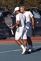 SAN ANTONIO, TX - FEBRUARY 9, 2008: The St. Edward's University Hilltoppers vs. The University of Texas at San Antonio Roadrunners Men's Tennis at the UTSA Tennis Center. (Photo by Jeff Huehn)